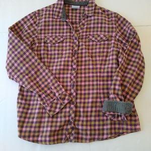 Columbia Flannel shirt Women's XL pink & Gray